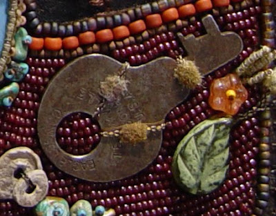 bead embroidery collage by Robin Atkins, bead journal project, detail of rusty key
