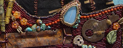 bead embroidery collage by Robin Atkins, bead journal project, detail of beading