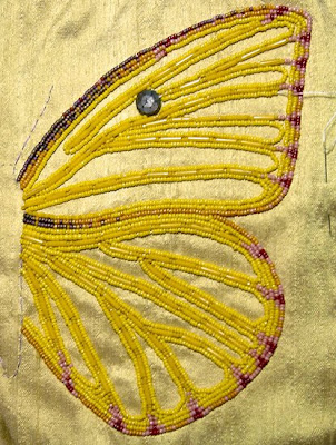 bead journal project, Robin Atkins, beaded butterfly wing