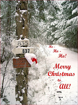 snow scene and Santa hat with Christmas greeting