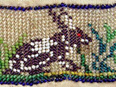rabbit, historical beadwork, vintage bead embroidery, detail, Robin Atkins collection