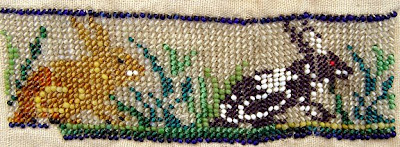 two rabbits, historical beadwork, vintage bead embroidery, Robin Atkins collection