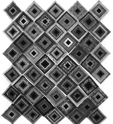 God's Eye Quilt by Robin Atkins, arrangement of 50 blocks, values viewed in grayscale