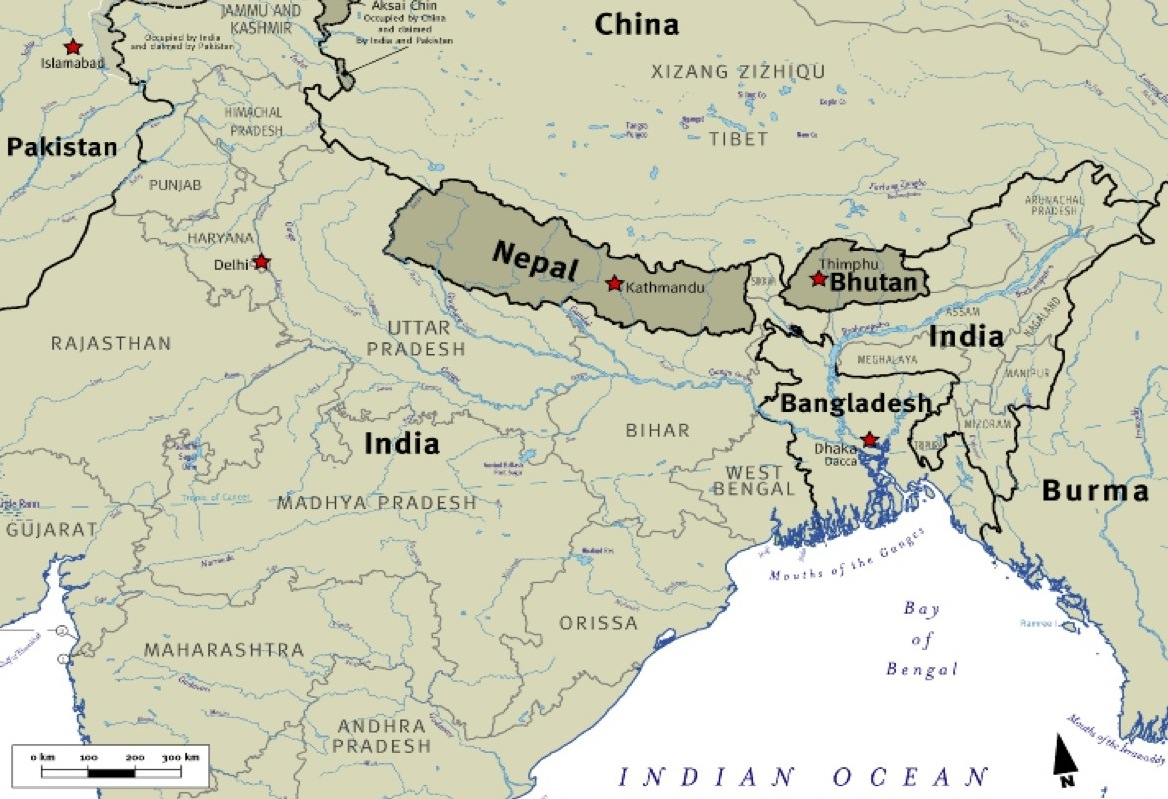 Map Showing India Nepal And Bhutan