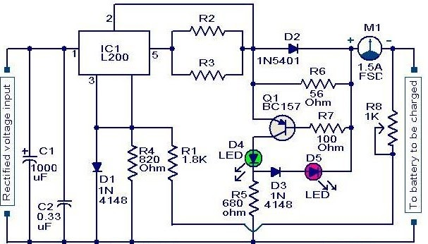 L200 Battery charger circuit | Power Supply Diagram and