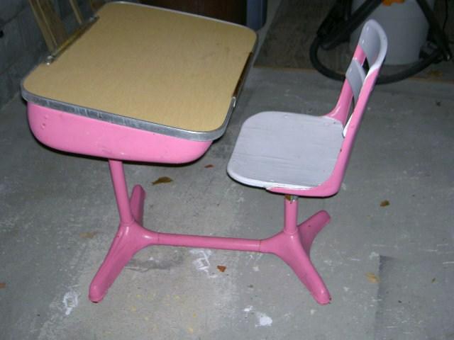 Vintage Desk Makeover Jaime Costiglio, Pink Wooden School Desk