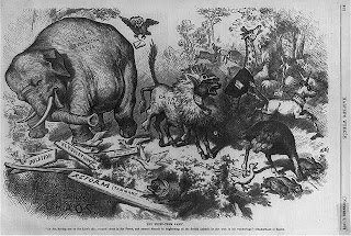 Political Party Symbols Elephant and Donkey Credit Line: Library of Congress, Prints & Photographs Division, [reproduction number, LC-USZ62-56776]