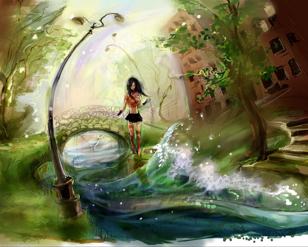 Girl In Water Painting Wallpaper