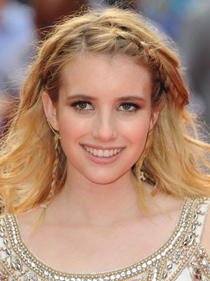 Emma Roberts Tousled Braided Blonde Hairstyle