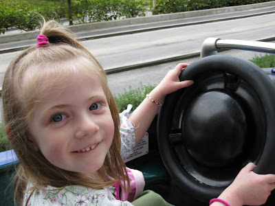 Kimmie driving her Autopia car