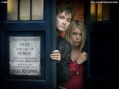 Rose and the Doctor in the TARDIS
