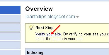 click the 'verify your site' link