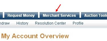 Click on the 'Merchant Services' tab (see at the top of the page)