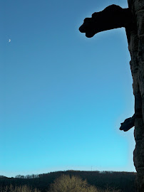 Two Gargoyles, the Moon and Flagstaff Mountain