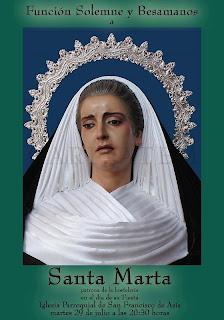 Esta noche Función solemne a Santa Marta en el Cristo de la Caridad