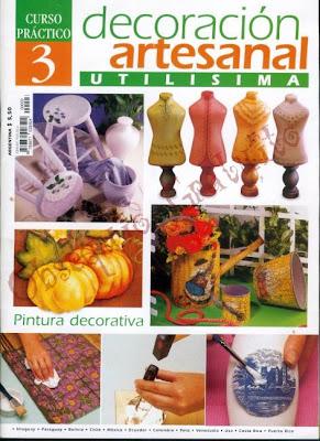 Revista: Decoración artesanal utilisima. Curso práctico No. 3