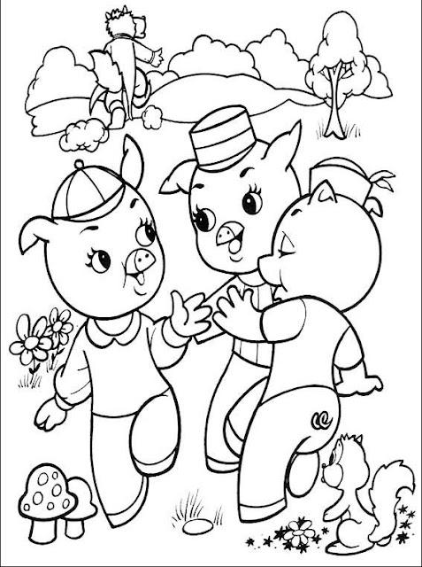 Os Tres Porquinhos E O Lobo Mau Desenhos Para Pintar