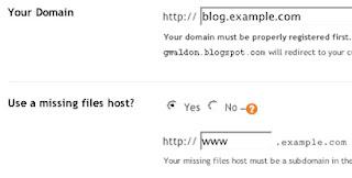 Настройки домена в зарубежной админке Blogger