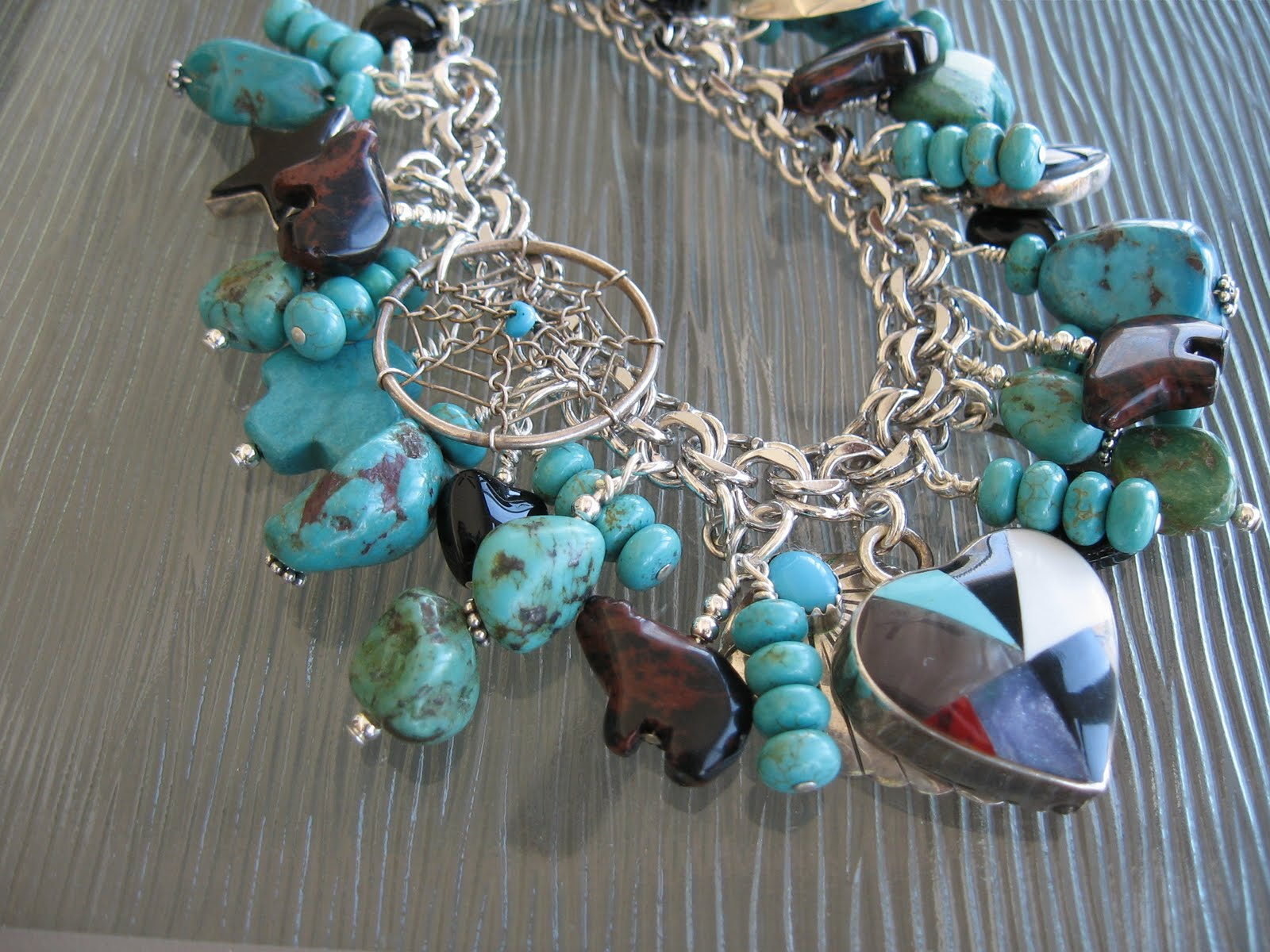 Sterling Silver Turquoise Onyx Southwestern Treasure Charm Bracelet