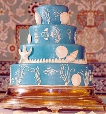 Wedding Cakes Pictures Blue Wedding Cakes With Sea Shell