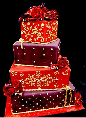 weddingdress: Red And Gold Wedding Cakes