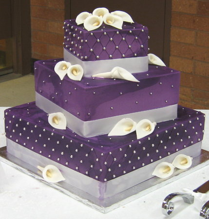 The cake is covered in a purple fondant, decorated with brushed ...
