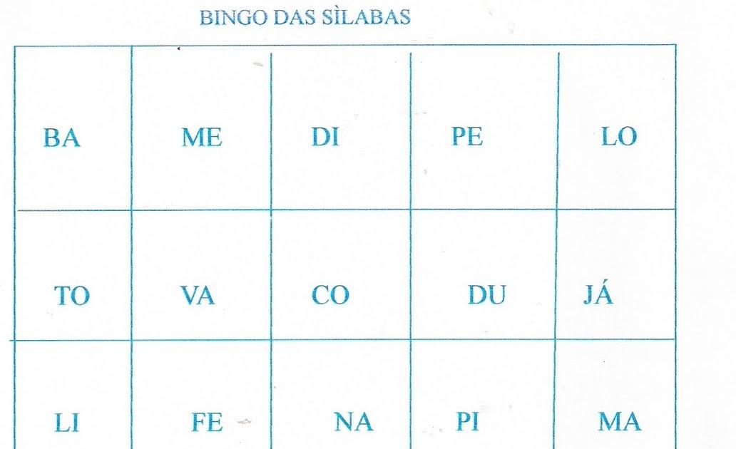 Professora Em Acao Bingo Das Silabas