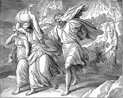 Lot and his family fleeing Sodom - Artist unknown