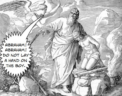 An angel stops Abraham from sacrificing Isaac - Artist unknown