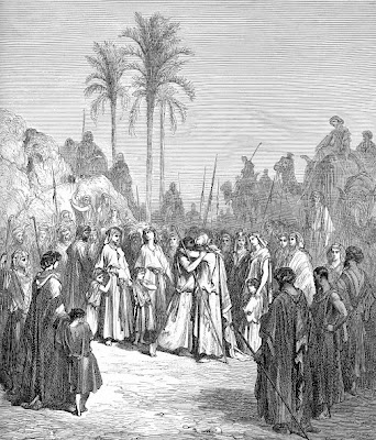 The meeting of Jacob and Esau - Artist unknown