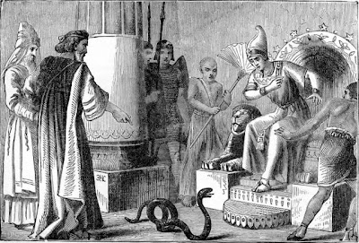Pharaoh watches Moses turn a rod into a snake - Artist unknown
