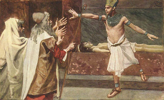 Pharaoh commands Moses to leave Egypt - by James Tissot