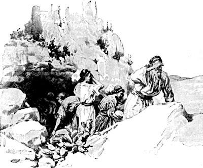 Gideon, threshing wheat in his hideout - Artist unknown