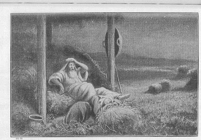 Ruth sleeps at Boaz's feet - Artist unknown