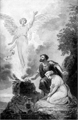 The angel comes to Manoah and his wife - Artist unknown