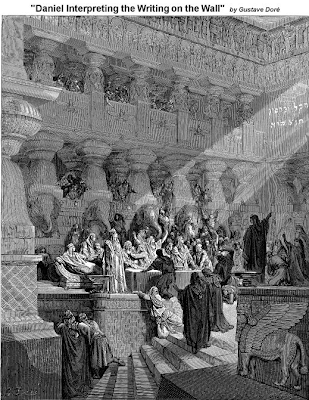 Daniel Interpreting the Writing on the Wall by Gustave Dore