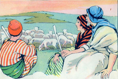 """""""Shepherds Watching Flocks"""" by O. A. Stemler & Bess Bruce Cleaveland, illustrators Standard Bible Story Readers by Lillie A. Faris"""