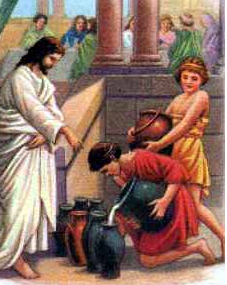 """""""Jesus changes water to wine"""" - Artist unknown"""