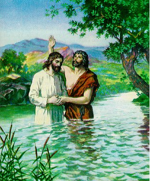 John baptizes Jesus - Artist unknown