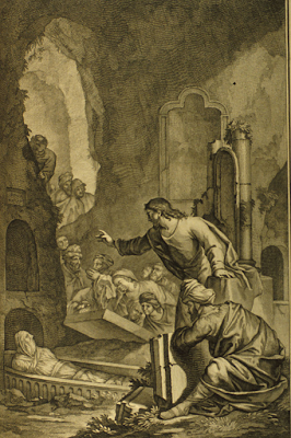 """Lazarus rising out of his grave"" - Illustrator of 'Figures de la Bible' P. de Hondt (publisher), 1728"
