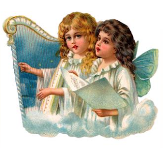 a harp and angels