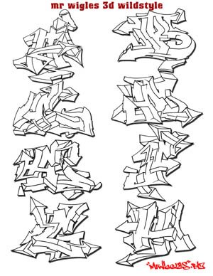 Draw Graffiti Letters: 3D GRAFFITI ALPHABETS FONTS