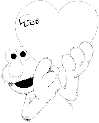 Coloring pages january 2011 for Elmo valentine coloring pages