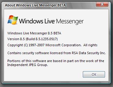 Windows Live Messenger 8.5.1235.0517 Beta 14134623tj1
