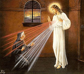 The Divine Mercy of Jesus being revealed to St. Faustina