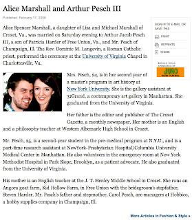 New York Times Wedding Announcement.Crozette New York Times Sunday Style Announcement