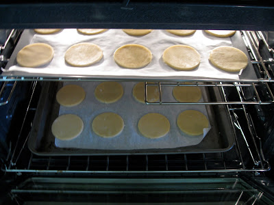 After the cookies have chilled, they're ready to go in the oven.
