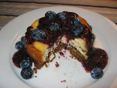 White Chocolate Cheesecake with Raspberry Sauce (cut)