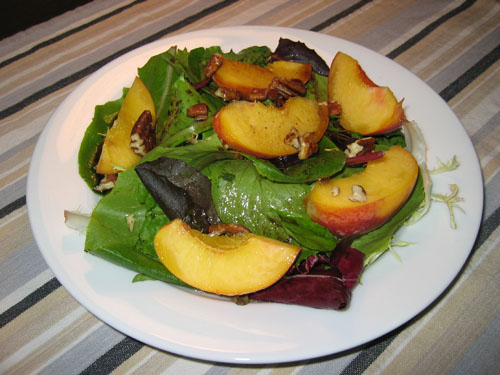 Peach Salad with Maple Balsamic Vinaigrette