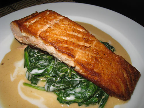 Pan Seared Salmon on Thai Curried Spinach